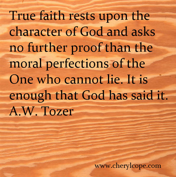 quote on faith by A W Tozer