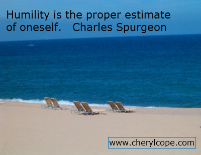 beach scene with humility quote